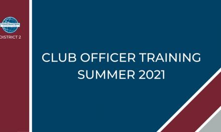 Club Officer Training Schedule Summer 2021